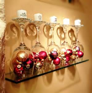 christmas decor upside down wine glasses filled w small ornaments candles on base for the home