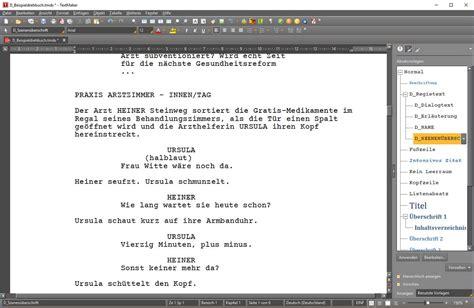 drehbuchschreiben mit dem textverarbeitungsprogramm