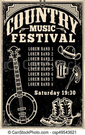 country poster template country music festival poster template cowboy hat cowboy