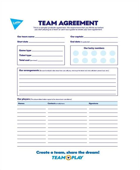 Lottery Agreement Templatefree Printable Lottery Pool