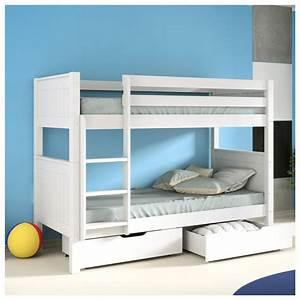Lit Enfant Superposé : lit superpos blanc en pin 90x190 option tiroirs alfred compagnie ~ Melissatoandfro.com Idées de Décoration