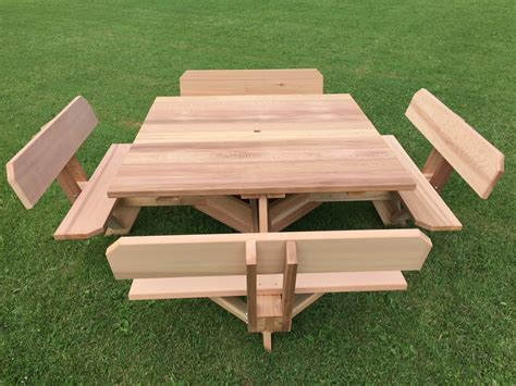picnic benches for 56 quot western cedar picnic table with attached backs