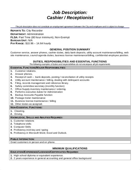 sample cashier job dutie templates  ms word
