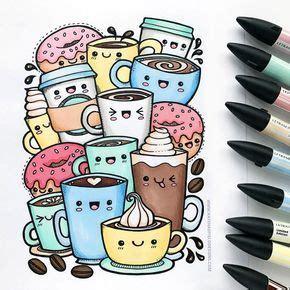 kawaii coffee  colouring page doodle art drawing