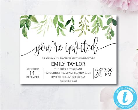 Greenery You're Invited Invitation Template Special Event