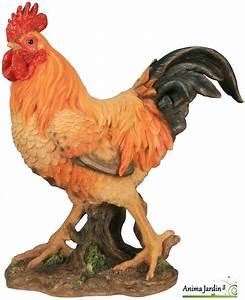 Statue De Jardin En Résine : coq orange en r sine 41 cm sujet d co ext rieur basse ~ Dailycaller-alerts.com Idées de Décoration