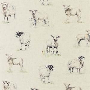 Sheep Fabric - Linen (F0863/01) - Studio G Countryside