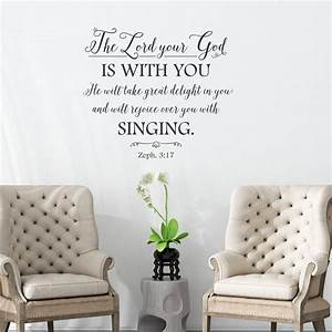 christian wall art decal zephania 317 the lord is with With bible verses wall decals inspiration