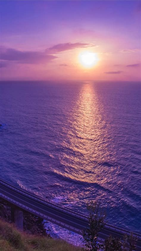 purple sunset reflection  wallpapers hd wallpapers