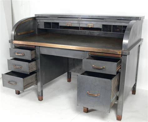 metal desk for 1930s banker s metal roll top industrial desk for at