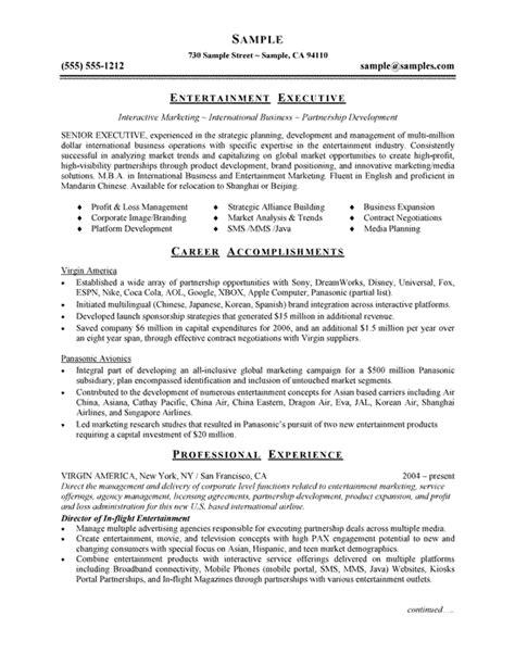 entertainment executive resume