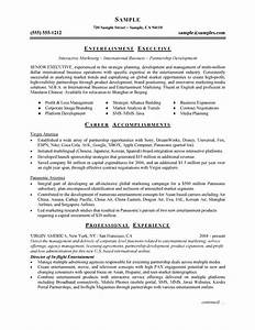 entertainment executive resume example With entertainment resume
