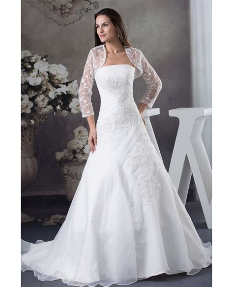 strapless organza lace wedding dress with 3 4 sleeves