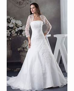 strapless organza lace wedding dress with 3 4 sleeves With wedding dresses with jackets or sleeves