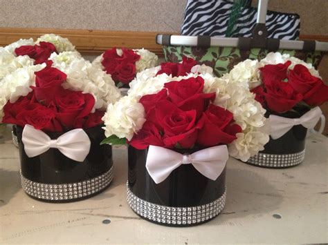 James Bond Themed Short Centerpieces With Bow Ties