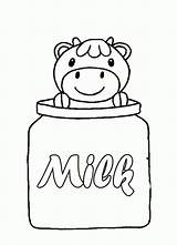 Coloring Milk Carton Cow Bottle Drawing Clip Printable Popular sketch template
