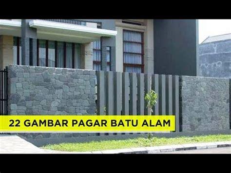 contoh desain terbaru pagar rumah minimalis  batu