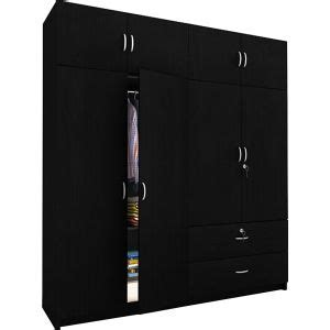 Buy Black Wardrobe by Remington Compressed Wood Four Door Wardrobe Black By