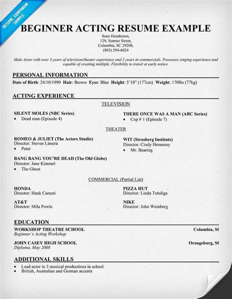 modeling resume template beginners free beginner acting resume sample resumecompanion com
