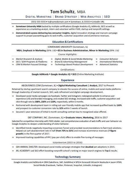 mba resume sle cv resumes student resume resume