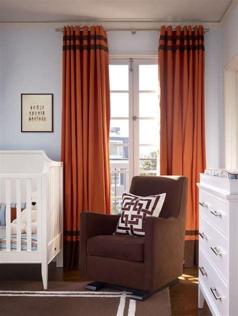 orange and brown curtains contemporary nursery