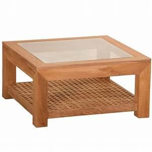 Table Basse Carrée Verre : table basse carr e en teck et plateau en verre 80x80x40cm lombok ~ Teatrodelosmanantiales.com Idées de Décoration