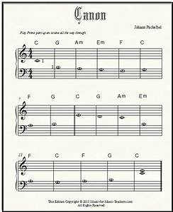 Pachelbel canon free sheet music for beginner piano with for Piano music books with letters