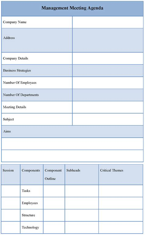 Meeting Agenda Template Agenda Template For Management Meeting Sle Of