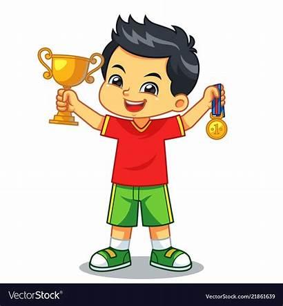 Win Trophy Medal Boy Vector Contest Earn