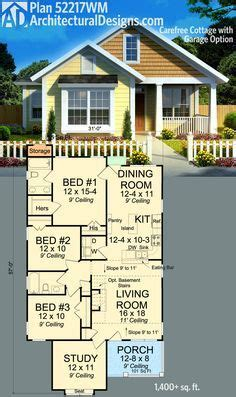plan wm carefree cottage  garage option growing articokes   house plans