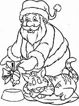 Coloring Santa Pages Christmas Cat Claus Giving Adults Holiday Colouring Pa Trees sketch template