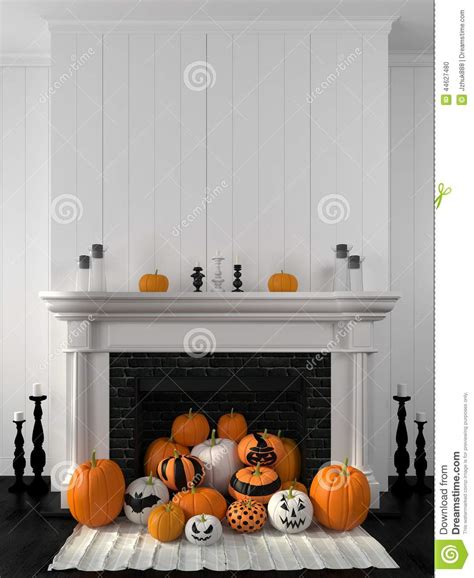 white fireplace decorated  pumpkins  halloween