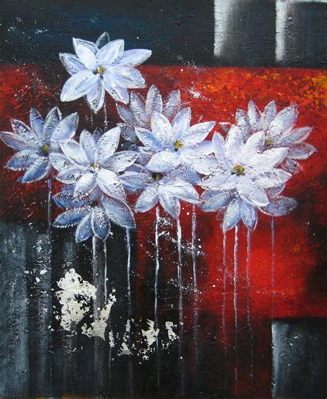 tableau peinture abstraite de fleurs blanches tableau peint