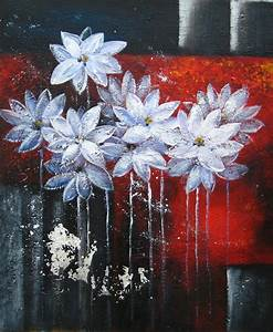 Tableau Fleurs Moderne : tableau peinture abstraite de fleurs blanches tableau peint ~ Teatrodelosmanantiales.com Idées de Décoration