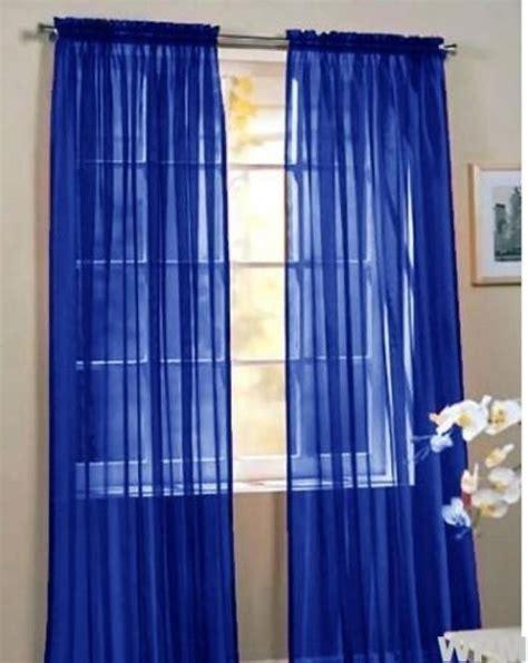 2 beautiful sheer window royal blue elegance