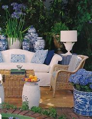 Blue and White Outdoor Room