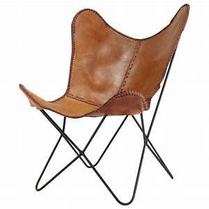 Fauteuil Suspendu Maison Du Monde : fauteuil en cuir camel santiago maisons du monde ~ Premium-room.com Idées de Décoration