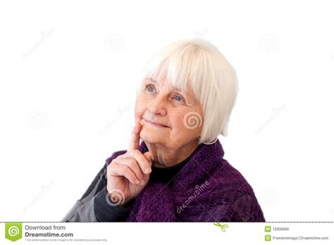 thinking cute older woman  royalty  stock