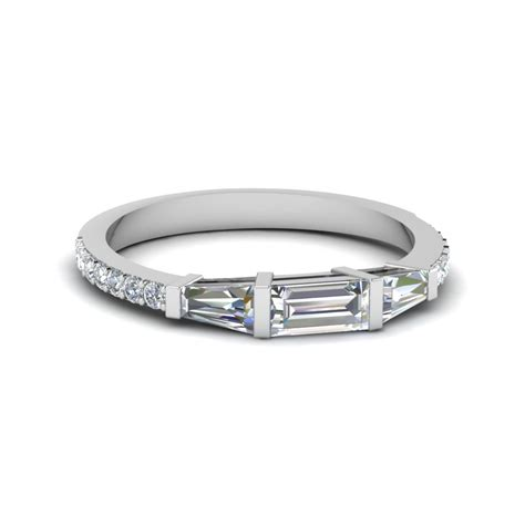 baguette and round diamond thin wedding women band in 950