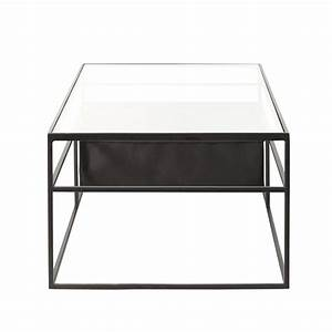 Table Basse Metal Verre : table basse en verre et m tal noir newspaper maisons du monde ~ Mglfilm.com Idées de Décoration