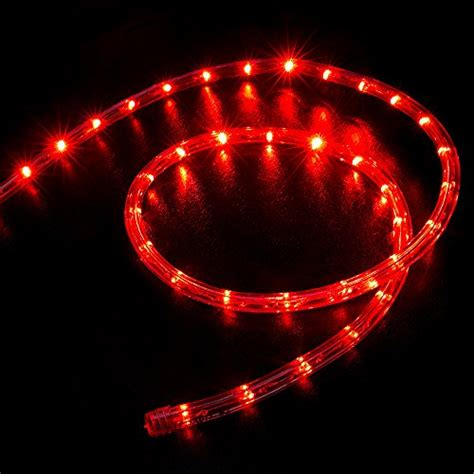 50 ft rope light christmas red led warm glow indoor