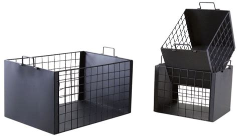 Caisse De Rangement Metal Caisses De Rangement En M 233 Tal Laqu 233 Noir Mat Lot De 3