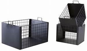 Caisse Metal Rangement : caisses de rangement en m tal laqu noir mat lot de 3 ~ Teatrodelosmanantiales.com Idées de Décoration