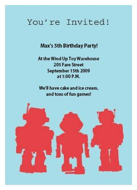 robot birthday invitation templates