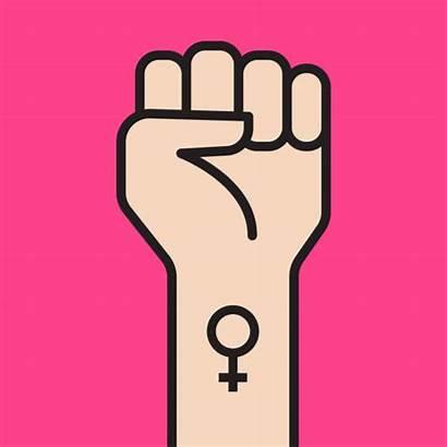 Fist Woman Vector Feminist Symbol Movement Hand