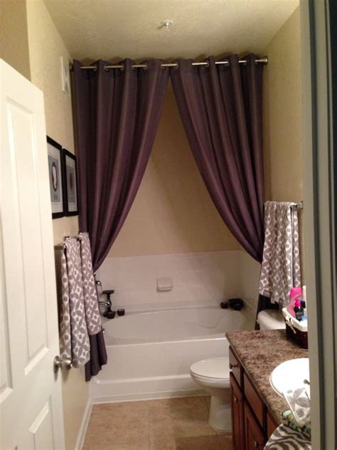 curtains for bathroom window ideas great way to hide empty space above around an awkwardly