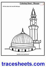Masjid Nabvi Worksheets Coloring Worksheet Islam Culture Clipart Islamic Mosque Drawing Pages Sheets Clip Kaaba Cliparts Mosques Trace Awareness Writing sketch template