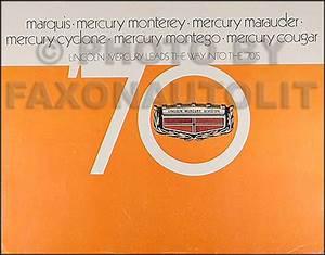 1970 Mercury Cougar Wiring  U0026 Vacuum Diagram Manual Reprint