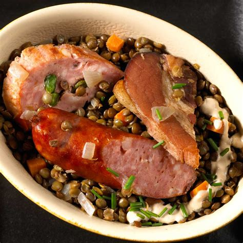 assiette du terroir lentilles 224 la vinaigrette cr 233 m 233 e une recette terroir cuisine le