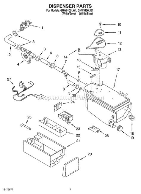 whirlpool ghw9100lw1 parts list and diagram ereplacementparts